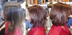 time for a trim and a color change.. this fresh new color was achieved using Aveda colors and lighteners for a natural auburn and caramel finish