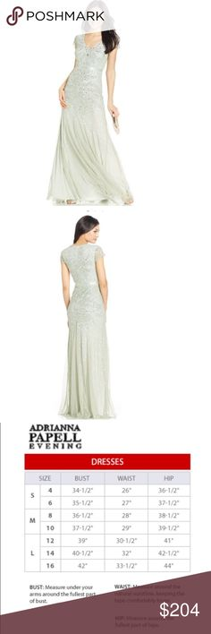 Adrianna Papell Evening Gown!! 👗💚 Gorgeous, Arianna Papell gown with delicate beading and sequin throughout! Pretty illusioned cap sleeves with an attached ribbon belt at the waist. V- neck line and a mermaid silhouette! Absolutely stunning ✨ only worn once, truly LIKE NEW Adrianna Papell Dresses Maxi