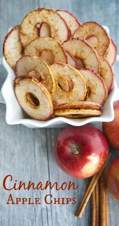 These Cinnamon Apple Chips, made with a few simple ingredients, are a healthy snack your whole family will love. These Cinnamon Apple Chips, made with a few simple ingredients, are a healthy snack your whole family will love. Good Healthy Recipes, Vegetarian Recipes, Cooking Recipes, Diet Recipes, Healthy Foods, Recipes Dinner, Dessert Recipes, Healthy Appetizers, Healthy Chips