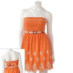 City Triangles Crochet Strapless Dress - Juniors
