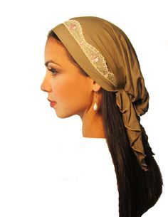 a particularly beautiful hair covering ... tichel, hair snood, head scarf, pre- tied bandana ... gold taupe pink flowers lace ...  regular length ... see many more styles in etsy shop