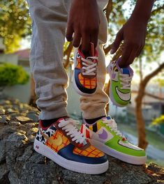 To infinity and beyond! Toy Story one of the most anticipated and prestigi . All Nike Shoes, Nike Shoes Air Force, Hype Shoes, Custom Painted Shoes, Custom Shoes, Custom Sneakers, Zapatillas Nike Force, Sneakers Fashion, Fashion Shoes