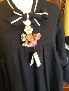 Omega Smock | Dress in winter weight linen | Sophie Digard brooch