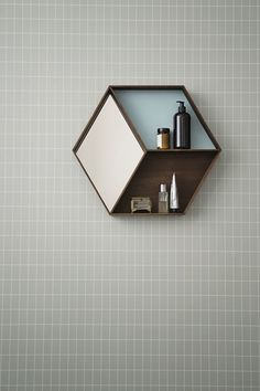 geometric bathroom wall shelving