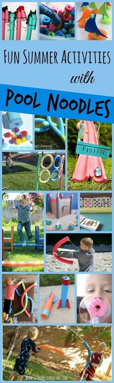 30 Fun Pool Noodle Activities Fun Summer Activities with Pool Noodles – over 30 creative and outrageously fun kids activities for summer. Great for kids of all ages; outdoor and indoor activities. Summer Activities For Kids, Indoor Activities, Camping Activities, Party Activities, Animal Activities, Water Activities, Family Fun Activities, Preschool Summer Theme, Water Games