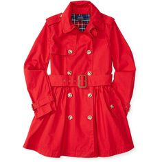 Cotton Trench Coat ❤ liked on Polyvore featuring outerwear, coats, red trenchcoat, red trench coats, cotton trench coat, trench coat and cotton coat