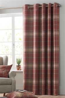 Buy Red Woven Check Eyelet Curtains From The Next Uk