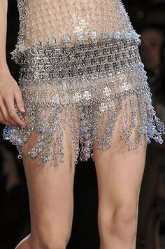 Paco Rabanne Spring/Summer 2013 show in galerie Sud Est at the Grand Palais - chainmail dress