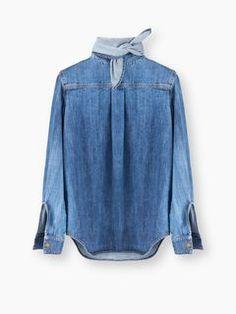 Scopri la creazione Blusa In Denim Con Fiocco e acquista online sul sito ufficiale CHLOE. 16HDH0216H150