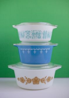 The vintage bakeware pieces are so pretty you can take them straight from the oven to the dinner table as serve ware.