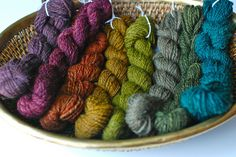 hand spun, hand dyed wool yarn