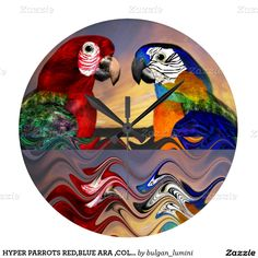 HYPER PARROTS RED,BLUE ARA ,COLORFUL REFLECTIONS CLOCKS