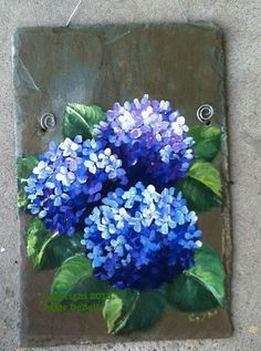 Custom order with Welcome at the top and hung with a leather cord.    Bright Blue Hydrangeas painted on a natural slate background. Room at the