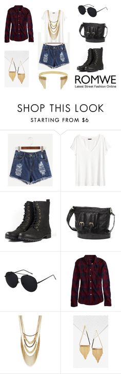 """Romwe contest: Blue Denim Shorts"" by holly32196 on Polyvore featuring H&M, Mudd, American Eagle Outfitters and BCBGeneration"
