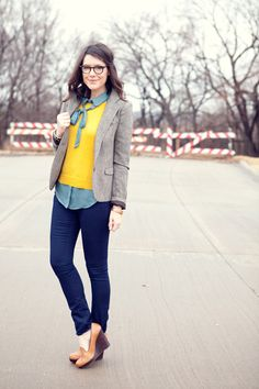 Not a fan of the blazer, or the yellow sweater really. But I love the 70s vibe of the wedge with the clean line of the jean! And I like the cooler blue color of the shirt. Been looking for a tie neck blouse for work too.