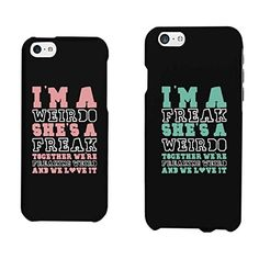 365 Printing Weirdo and Freak Black Matching Best Friends Phone Cases Christmas Gift for BFFLeft iPhone 5C Right iPhone 6
