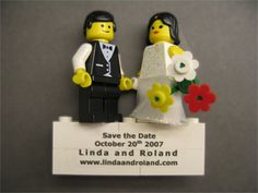 These Save the Date magnets are made out of real LEGO! The couple said it was time consuming and expensive, but was worth it for them as a splurge item in their budget. Funny Save The Dates, Unique Save The Dates, Save The Date Magnets, Save The Date Cards, Wedding Wishes, Wedding Blog, Wedding Ideas, Wedding Stuff, Dream Wedding
