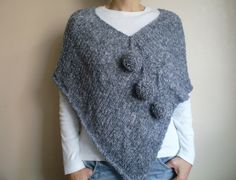 Gray poncho with pom pom gray scarf hand by bysweetmom on Etsy . Gray poncho with pom pom gray scarf hand by bysweetmom on Etsy Gray poncho with pom pom gray scarf hand by b. Poncho Knitting Patterns, Crochet Poncho, Knitted Shawls, Hand Knitting, Grey Poncho, Poncho Shawl, Grey Scarf, Boucle Yarn, Yarn Sizes