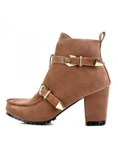 Zippered Buckle Short Boots