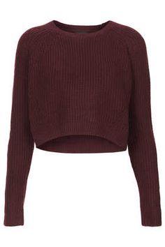 Knitted Rib Curve Crop Jumper - Knitwear - Clothing