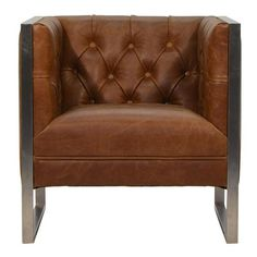 Otto Industrial Chester Club Armchair in Leather Brown Leather Furniture, Brown Leather Armchair, Leather Club Chairs, Leather Armchairs, Chesterfield Armchair, Leather Chesterfield, Leather Sectional Sofas, Tufted Sofa, Teal Accent Chair