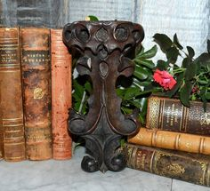 Wonderful Antique Carved Scrolled Wood German Corbel or Bracket - Perfect for supporting or displaying your favorite collectible. In Antique As Found Condition - small piece of a dowel has been glued
