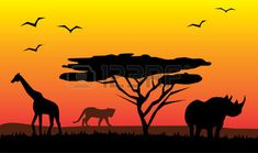 Illustration of african landscape vector art, clipart and stock vectors. African Animals, African Safari, Safari Clipart, African Art Projects, Lion King Party, African Quilts, Safari Decorations, Foto Poster, Le Roi Lion
