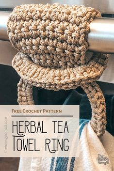 Herbal Tea Towel Ring — The Roving Nomad – Crochet and Knitting Ideas n Patterns – atcraft Crochet Towel Holders, Crochet Towel Topper, Débardeurs Au Crochet, Free Crochet, Mandala Crochet, Crochet Granny, Double Crochet, Easy Crochet, Yarn Projects