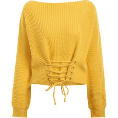 Boat Neck Lace Up Sweater Yellow