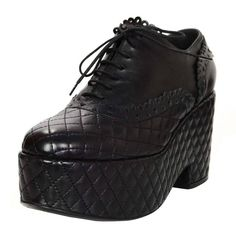 Chanel Black Quilted Oxford Platform Shoes Sz 40.5 1