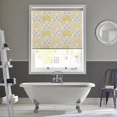 Hydrangea yellow roller blind by Style Studio.