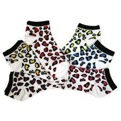White Multi Color Leopard Spotted 6 Pack Ankle No Show Socks Luxury Divas. $18.99