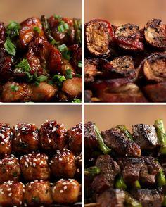 Japanese Grilled Skewers 4 Ways (Kushiyaki) via Tasty Japan