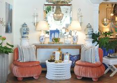 Coral, blue and white design at Mecox Palm Beach #interirodesign #home #decor #antiques #vintage #MecoxGardens