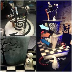 One of the craziest Tim Burton inspired cakes for an inspired director at his barmitzvah in the Green Building in Brooklyn. Custom cake elements by Chef Benny Rivera of City Cakes.