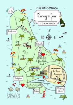 Barbados wedding map