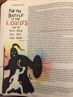 Bible Journaling 1 Samuel 17:47, David and Goliath. Pitt artist pen, distress inks, Prismacolor pencils