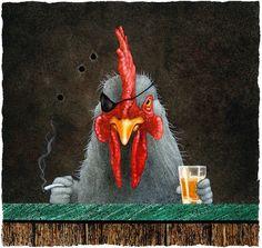 Will Bullas /l art print / one tough old bird. Chicken Drawing, Chicken Painting, Chicken Art, Old Age Humor, Border Collie Art, Rooster Art, Bullen, Bar Art, Cool Cartoons