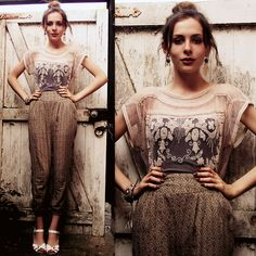 Get this look: http://lb.nu/look/2507235  More looks by Zoë G: http://lb.nu/zoe_ag  Items in this look:  H&M (Detached From My Necklace!) Dream Catcher Earrings, Ebay Topshop Embellished Top, H&M Trousers