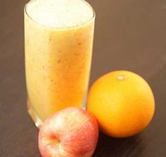 Natural apple and orange juice with nutty almond flavoring makes this milkshake a perfect breakfast treat.