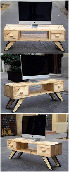In need of a better and unique furniture for your living area? Here we go providing you an idea to create a package containing masterpieces by recycling wood pallets. Awesome idea for pallets wood made living room pallet TV stand is being presented here that fill your room with natural feel and classy look.