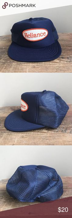 464feb65742 Vintage Trucker Hat Mesh Snapback Reliance Blue Vintage Trucker Hat Mesh  Snapback Cap Reliance Patch Navy Blue One Size VTG Please see pictures for  best ...