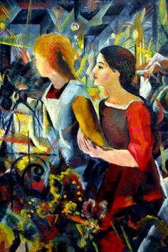 August Macke (1887-1914) was een Duits kunstschilder, wiens werk behoort tot het Duits expressionisme. Via Franz Marc komt Macke in contact met de andere leden van der B R, zoals  Kandinsky en wordt ook lid.. Het uitbreken van de oorlog maakt aan alles een abrupt eind. In september 1914 moet Macke het leger in en sneuvelt hij. Ook Franz Marc zou in de Eerste Wereldoorlog overlijden en door de dood van beide kunstenaars komt er een einde aan der Blaue Reiter.