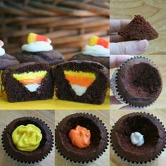 Candy Corn Cupcakes. I would use a colored white chocolate ganache instead of the frosting in the recipe.