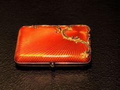 Faberge enameled gold cigarette case.