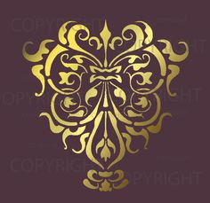 wall stencil patterns - gold on base color