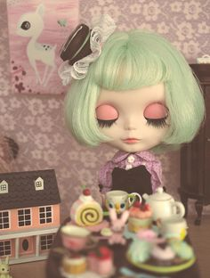 Mint green bob, owl mug, doll house, pill hat..a few of my favorite things :)