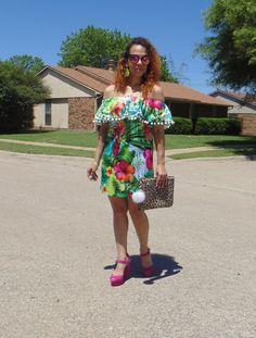 Tropical Pom Pom Off Shoulder Dress