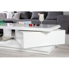 Table basse design Taylor blanc/blanc laqué