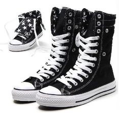 Converse Hi-Rise - Black Star Lining # ? Converse Outfits, Cool Converse, Converse Sneakers, Converse All Star, Custom Converse, Sock Shoes, Cute Shoes, Me Too Shoes, Shoe Boots